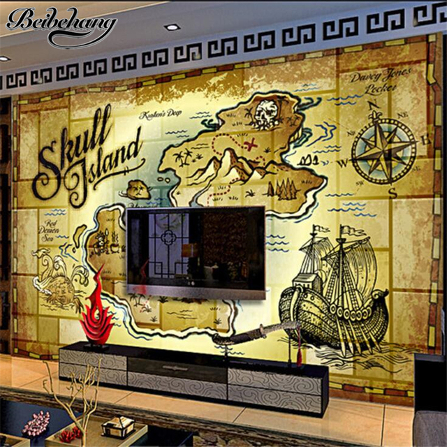 beibehang Custom Wallpaper 3d Photo Murals Retro Nostalgic Pirate ...