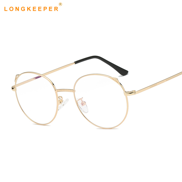 a3962d8583e Chic Eyeglasses Retro Big Round Metal Frame Clear Lens Glasses Nerd  Spectacles Rose Alloy Frame Women