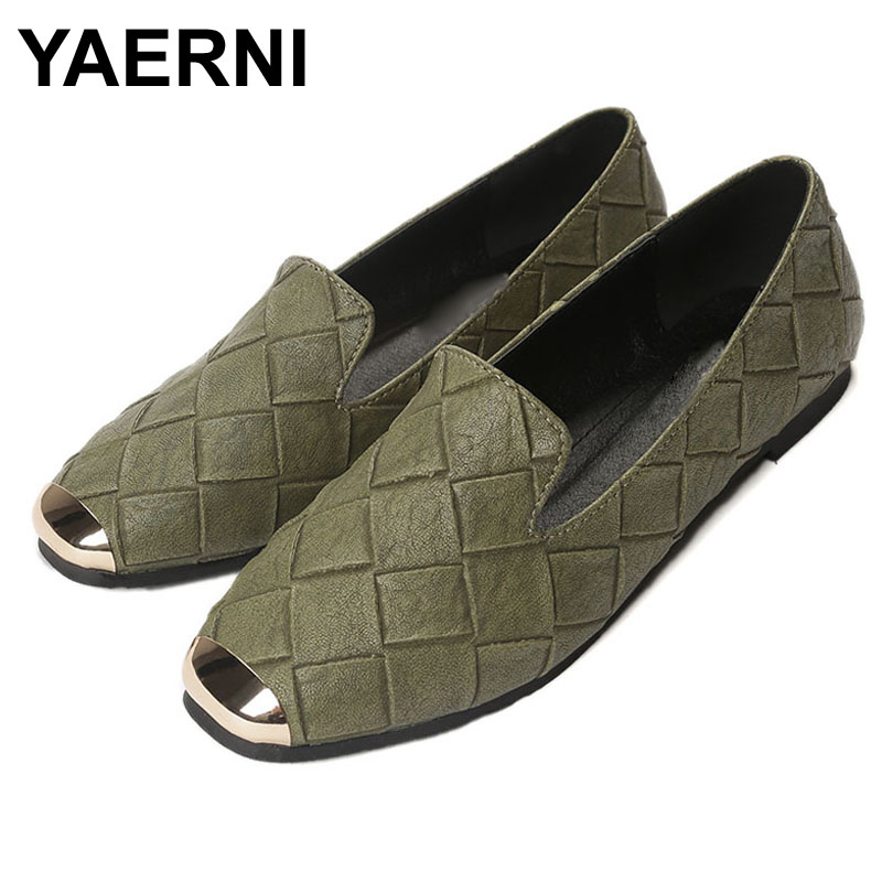 YAERNI Shoes Ladies Walking-Flats Square Wide-Fit Plaid Grey 10-Loafers China Green Plus-Size