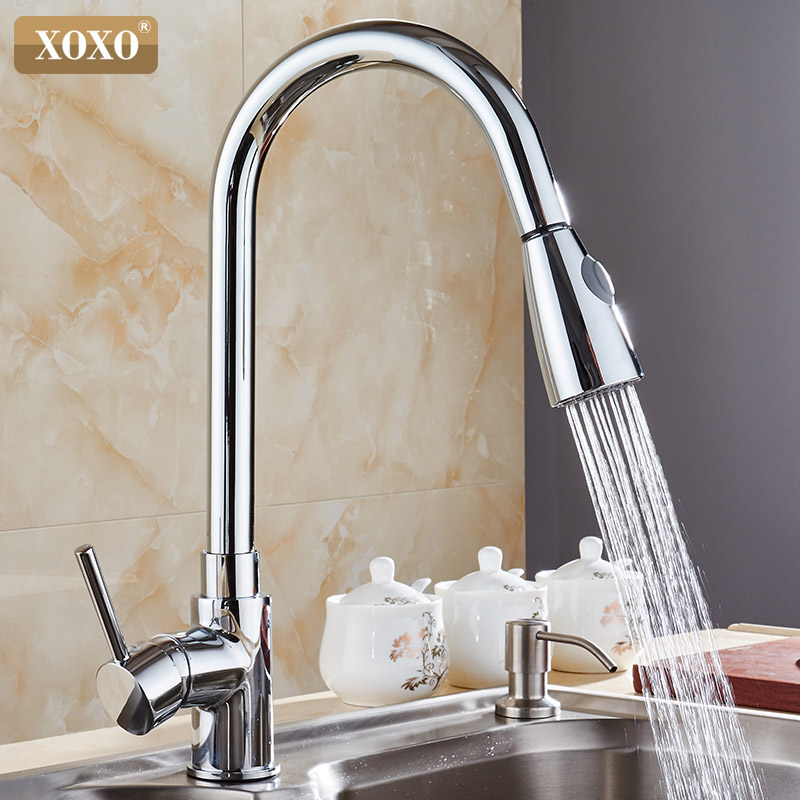 XOXO Kitchen Faucets chrome Single Handle Pull Out Kitchen Tap Single Hole Handle Swivel 360 Degree