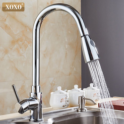 XOXO  Kitchen Faucets chrome  Single Handle Pull Out  Kitchen Tap Single Hole Handle Swivel 360 Degree Water Mixer Tap Mixer Tap