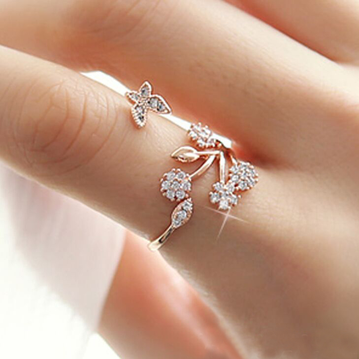 Women's AAA Cubic Zirconia flowers butterfly Rings
