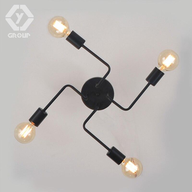 OYGROUP Vintage Smeedijzeren 4 Heads Meerdere Staaf Plafondlamp - Binnenverlichting - Foto 4