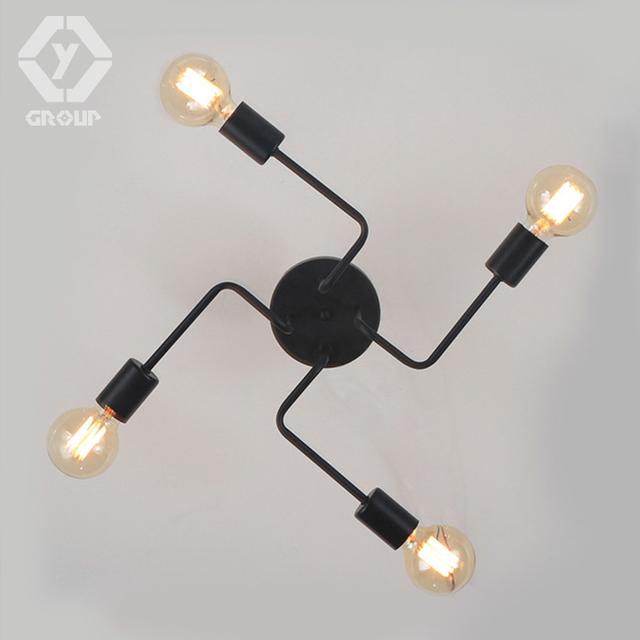 OYGROUP Vintage Wrought Iron 4 Heads Multiple Rod Ceiling Lamp Creative Retro Nostalgia Cafe Bar Ceiling Lights #OY16C11