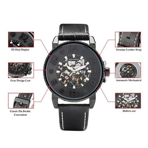 Keller & Weber Men Watch Mechanical Top Luxury Fashion Brand Leather Man Sport Watch Mens Automatic Watch Relogio Masculino Karachi