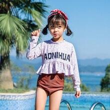 AONIHUA купальный костюм для девочек, детские купальные костюмы для девочек, детские купальные костюмы, новая одежда для плавания с разрезом для серфинга, плед, полиэстер, Пляжное Платье Sierra Surfer