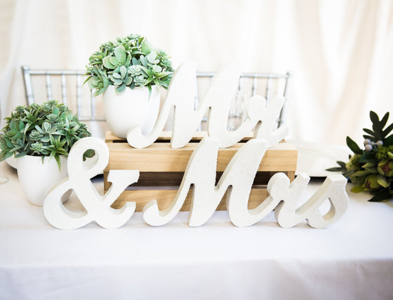Mrs Wedding Table Signs For Sweetheart Table Decor Wooden