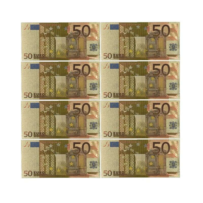 Цветные евро банкноты 50 евро Золотая фольга для коллекции и подарков изысканная работа с монетами ЕС