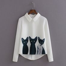 New Fashion Nice Pop New Women Loose Chiffon Three Cats Tops Long Sleeve Casual Blouse Autumn Shirts High Quality A824