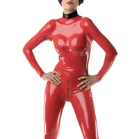 Nature Latex Tights Rubber Latex Women's Catsuit Corsetry Latex Zipped Chest Catsuit Red Latex Catsuit With Sock &Gloves