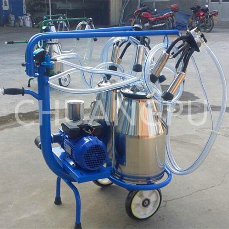 With Double Buckets Mobile Dry Type Pump Milking Machine for Cow,Sheep,Cattle,Goat