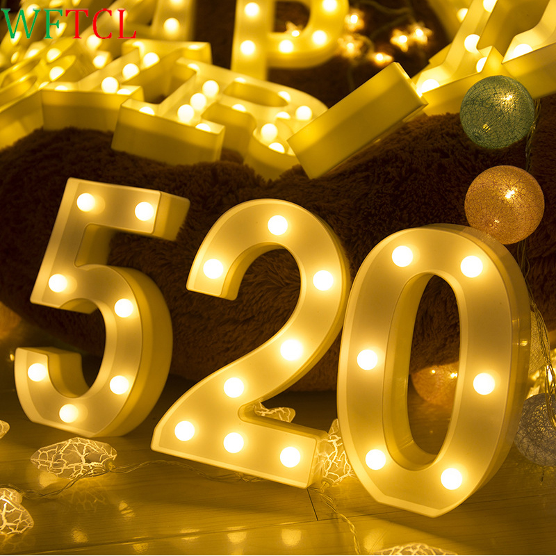 LED Night Lights Decorative Light Up LED Number Letter Battery Operated Marquee LED Phone Number Lights Sign Party Wedding Decor