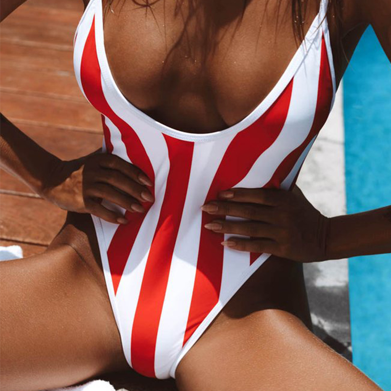 Push Up One-Piece Swimsuit For Women Striped Bathing Suit Monokini Summer Swimwear 2019 High Cut Swimming Suit Biquini