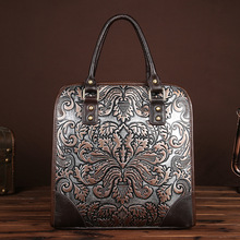 New Genuine Leather Ladies Bags Vintage Embossing Brush Color Shoulder Bags Fashion Women's Top-handle Briefcase LS8832