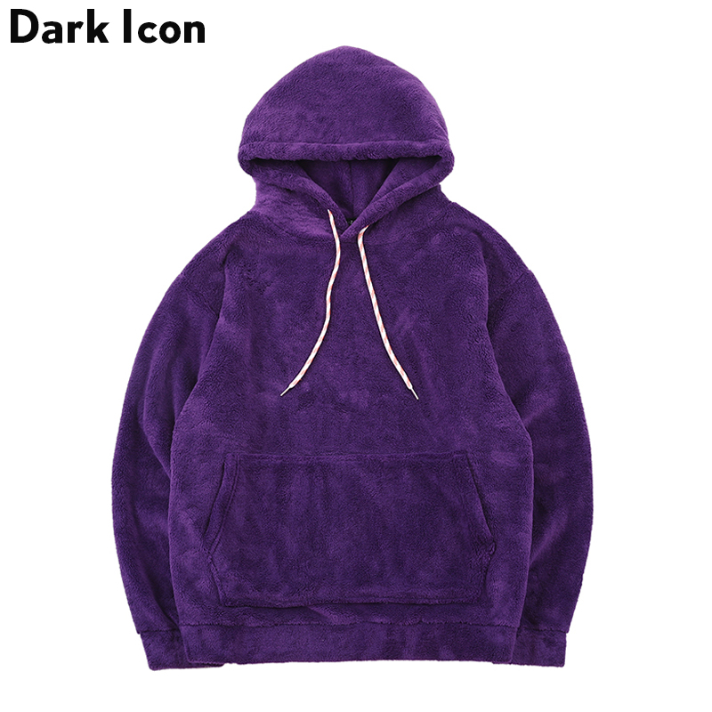 Dark Icon Sherpa Front Pocket Hoodie Men 2019 Winter Solid Color Oversize Hooded Sweatshirt Men Hi-street Men's Hoodie 5Colors