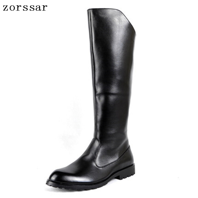 {Zorssar} 2018 fashion high boots Men Military boots Riding Equestrian Boots Pu leather Mens Knee High boots Winter male shoes lozoga new mens boots genuine leather luxury riding boots winter casual boots high top british style handmade equestrian boots