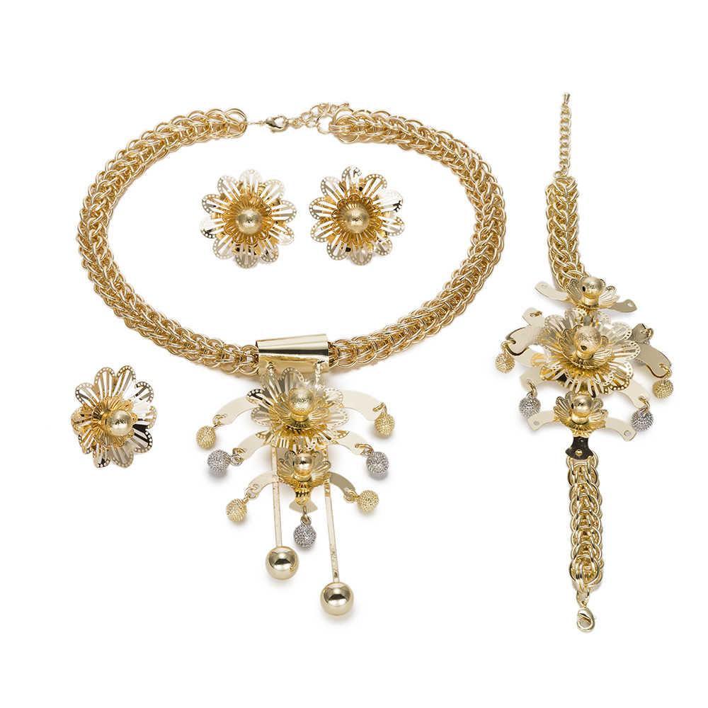 צבע זהב יוקרה סט תכשיטים אפריקאים גדולים MUKUN החתונה דובאי סט תכשיטי כלה הודי לנשים תורכי תכשיטי תלבושות