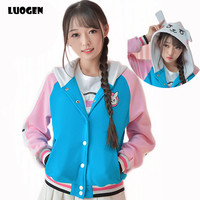 Kawaii Game OW D Va Hoodie Sweatshirt Dva Cosplay Baseball Coat 2017 Halloween Party Halloween Costumes