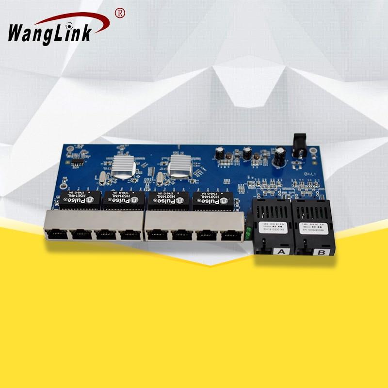 Porta de fibra Gigabit switch 8 * RJ45 2 porta de fibra Única fibra monomodo 1310nm/1550nm 1.25G fibra conversor de mídia da placa do PWB