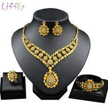 DubaiJewelry Sets Beautiful Dripping Pattern Pendant Inlay Crystal Necklace Earrings Ring Bracelet African Jewelry Fashion Women(China)