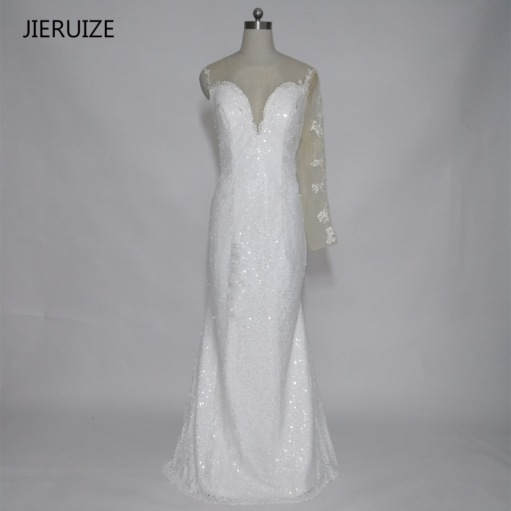 JIERUIZE White Sequin One Long Sleeve Mermaid Long Evening Dresses Långa Prom Party Kjolar Vestido Festa Robe de soiree