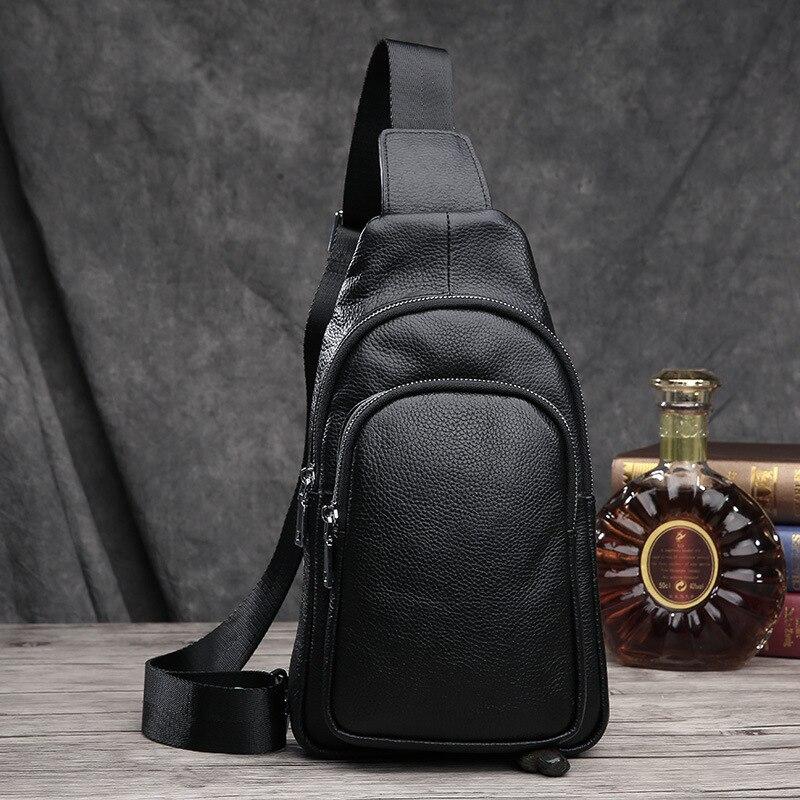 Brand Bag Men Chest Pack Single Shoulder Strap Back Bag Genuine Leather Travel Men Crossbody Bags Vintage Rucksack Chest Bag