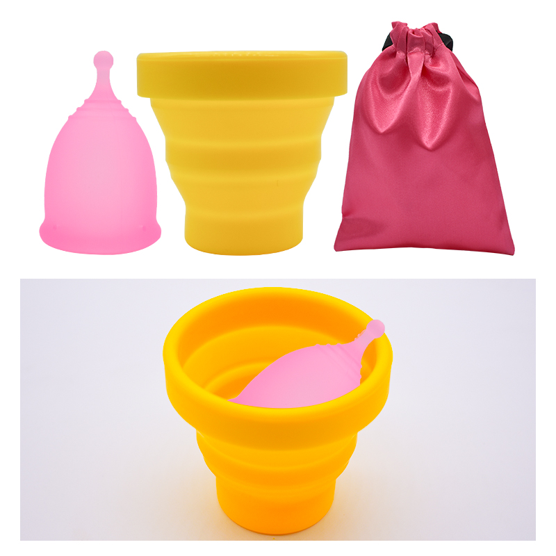 Health Care Menstrual Cup Silicone Vagina Cup Copa Menstrual Sterilizing cup with Cloth bag Feminine Hygiene Sterilizer Lady Cup