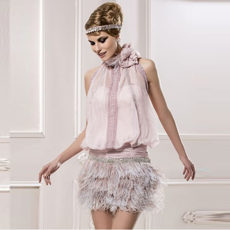 New Arrival Pink Feather Chic Cocktail Dresses Mini Sheath Beading Chiffon Halter Sleeveless Open Back Special Occasion Dress