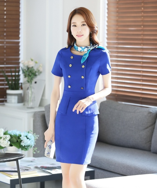 New 2018 Summer Fashion Women Work Dresses For Party Short Sleeve