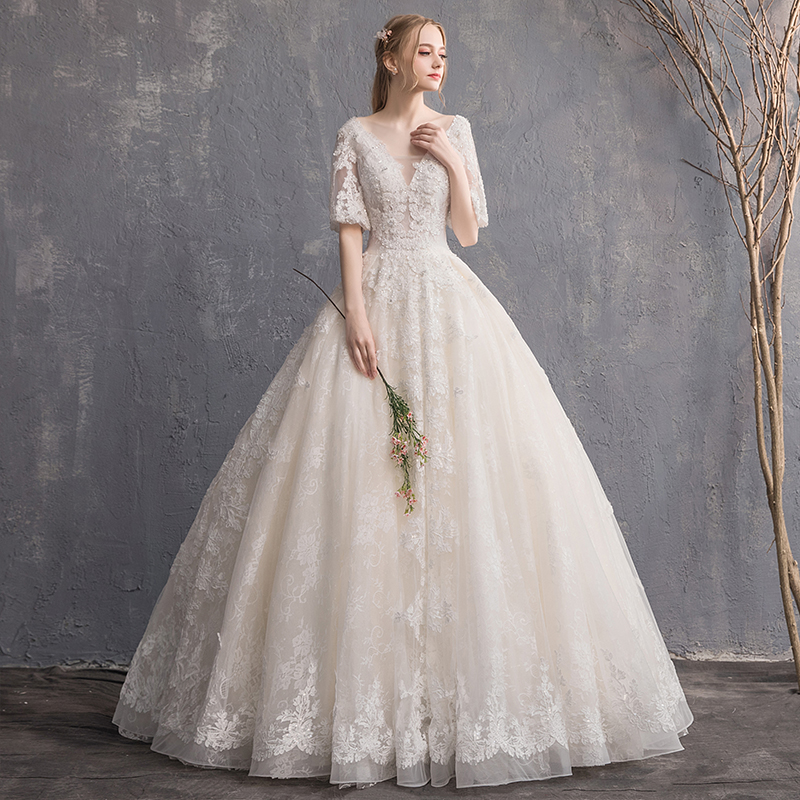 Holievery Half Sleeves Lace Tulle Ball Gown Wedding Dresses 2020 Floor Length Wedding Gowns Floor Length Bridal Gown Champagne