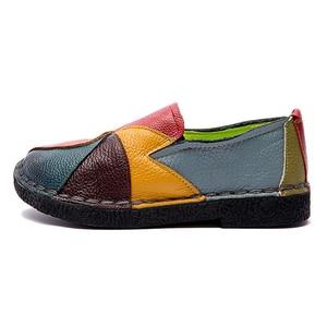 Image 5 - DONGNANFENG zapatos planos de piel auténtica para mujer, mocasines sin cordones, coloridos, de talla grande 41 42 TB 2098