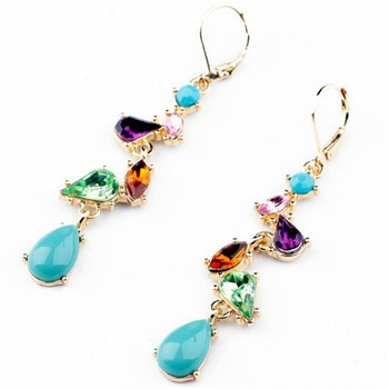 wing yuk tak Brand Earrings New Fashion Jewelry Alloy Multicolor Crystal Long Drop Earrings for Women Factory Wholesale