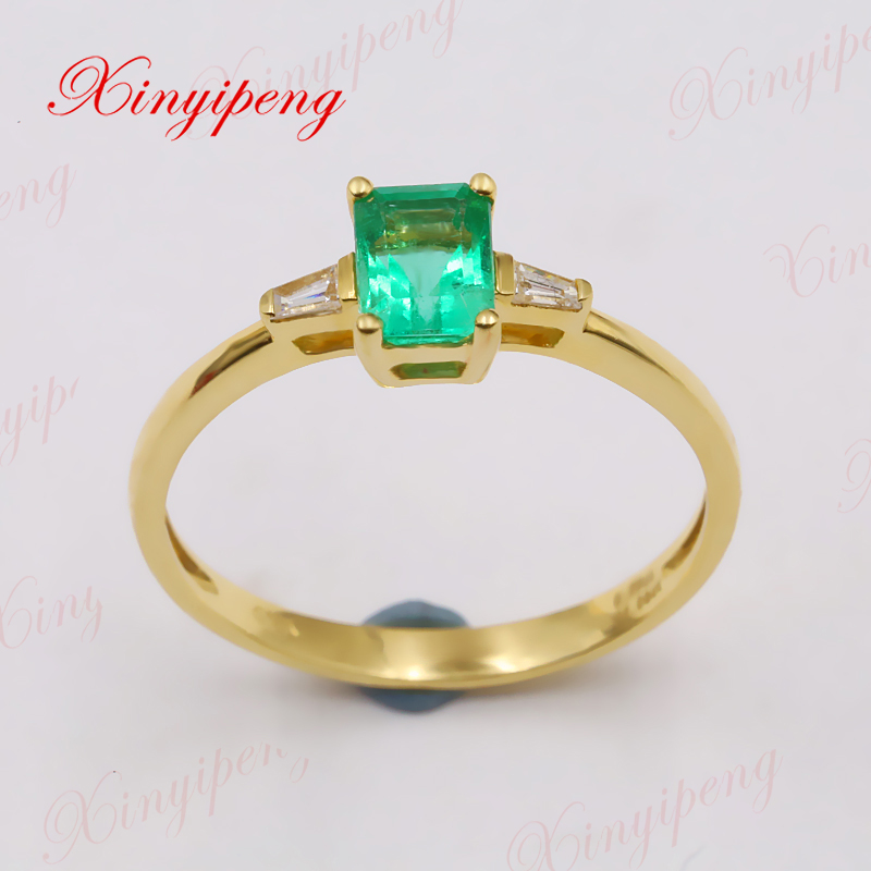 цена на Xinyipeng18K yellow gold inlaid natural emerald ring women with diamond design is beautiful