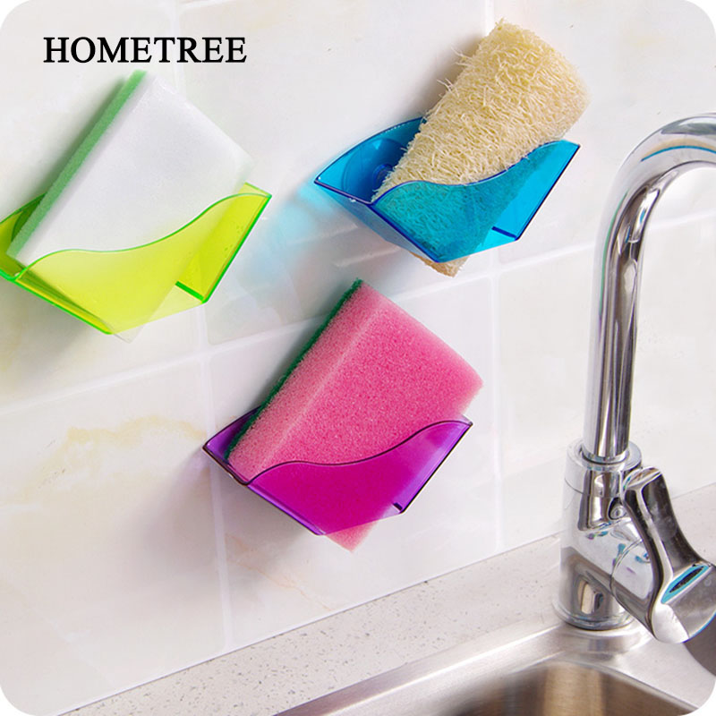 HOMETREE Simple Strong Sucker Storage Rack Sink Sponge Soap Trash Can Fabric Practical Rack Bathroom Kitchen Storage Racks H959