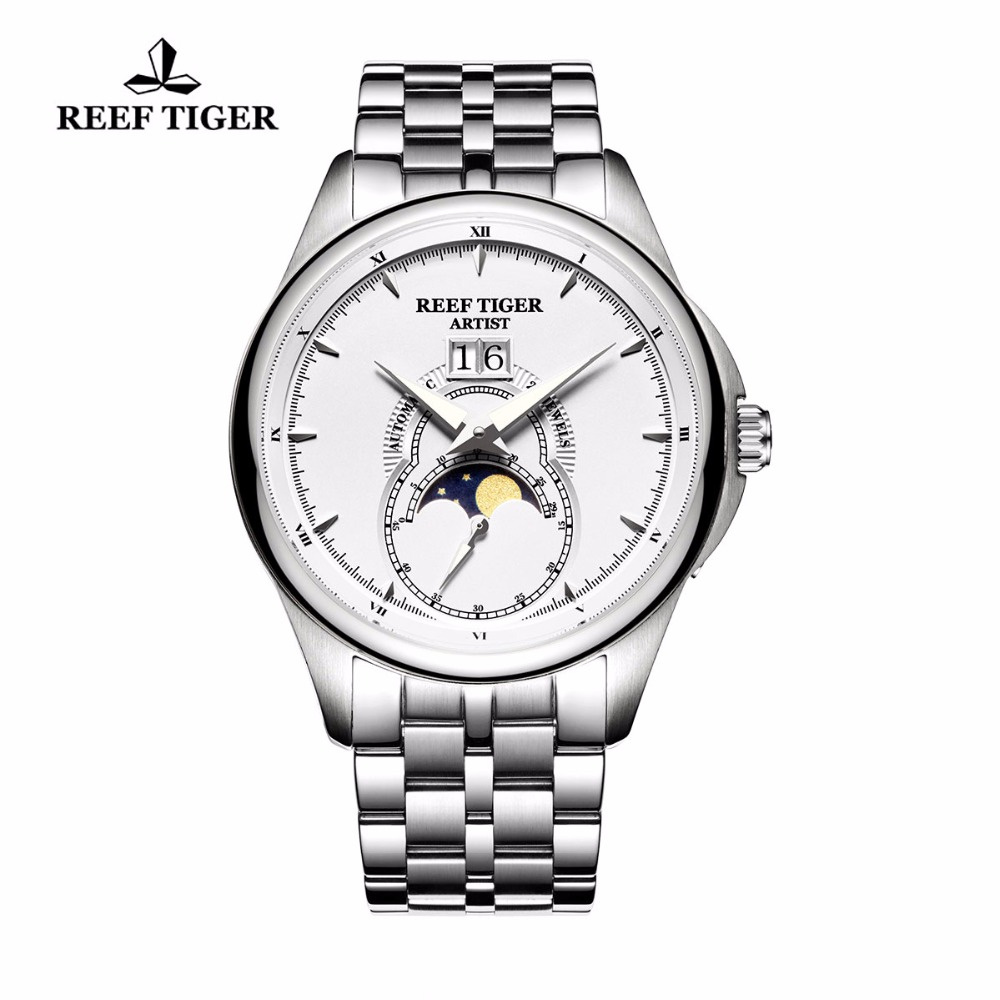 Reef Tiger/RT Fashion Automatic Watches Full Steel Mens Moon Phase Watches with Big Date RGA1928Reef Tiger/RT Fashion Automatic Watches Full Steel Mens Moon Phase Watches with Big Date RGA1928