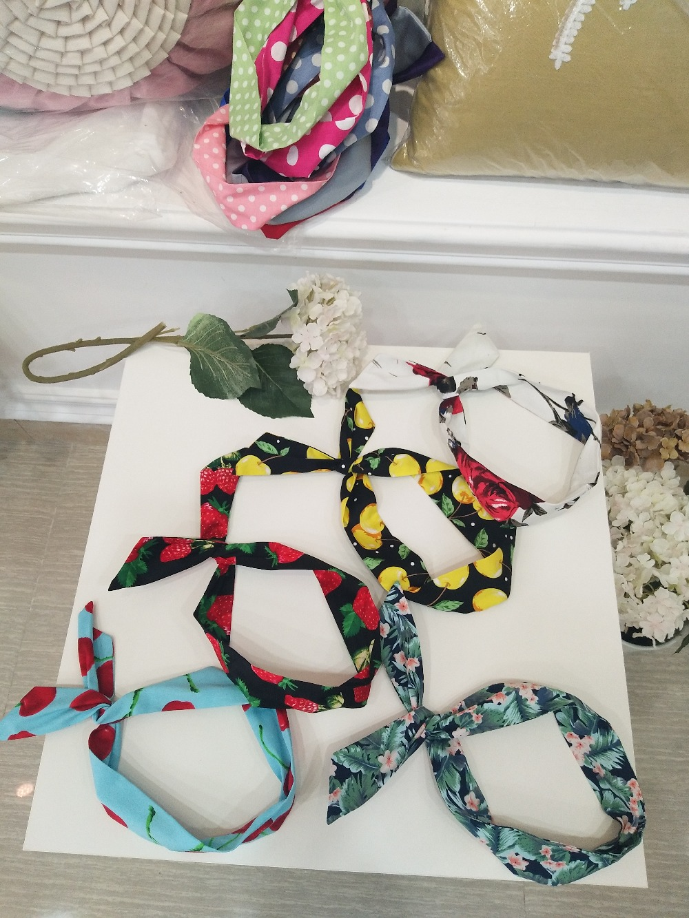 5pcs/lot Vintage Dot Floral Print Wire Headband Pinup Rockabilly Head Wrap Scarf Wholesa ...