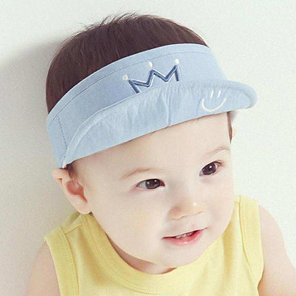 fea86b23284 Cotton Summer Baby Sun hat cap empty top Crown Smile design Visors Kids  Baseball Hat snapback