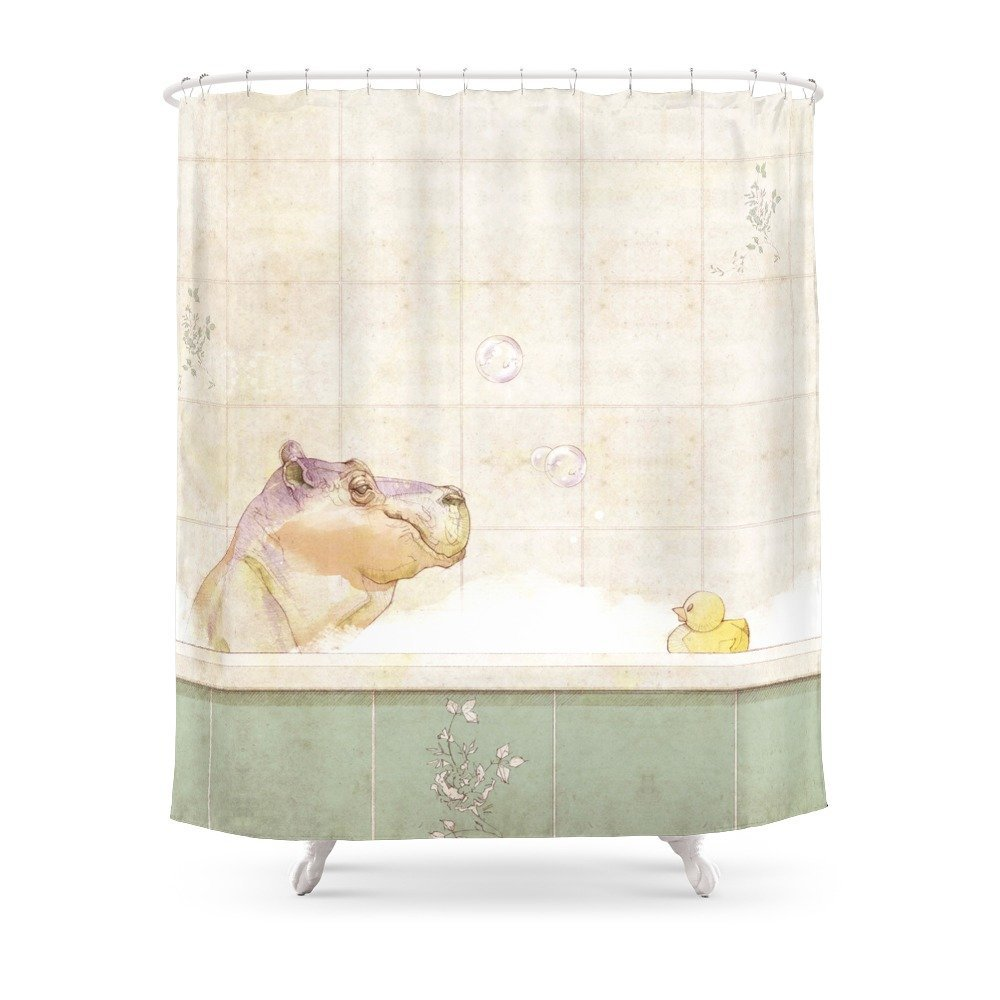 Hippo In The Bath Shower Curtain Set Waterproof For Bathroom With Non Slip Floor Mat