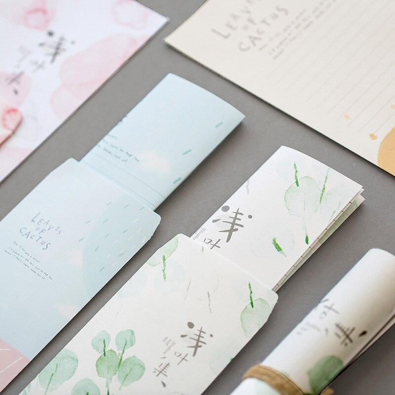 3 Envelopes + 6 Paper Kawaii Aesthetic Flower Cactus Envelope Invitations Cute Office Stationary Supplies 03246