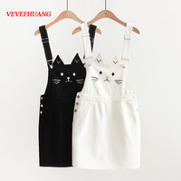VEVEFHUANG Japanese Mori Girl Women Cute Cat Dress Kawaii Ear Embroidery Denim Suspender Casual Overall Female Mini Jeans Dress