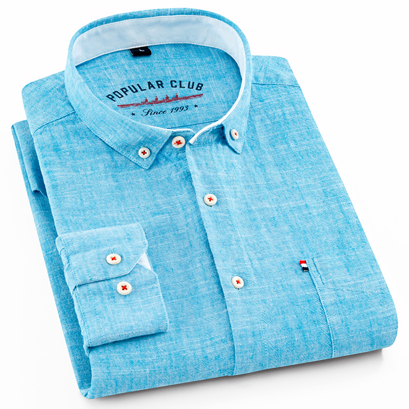 Men's Regular-Fit Shirt Cotton Line Long Sleeve Loose Business Dress Pure Color Button Shirt Men Blue White Tops Camisa Hombre L