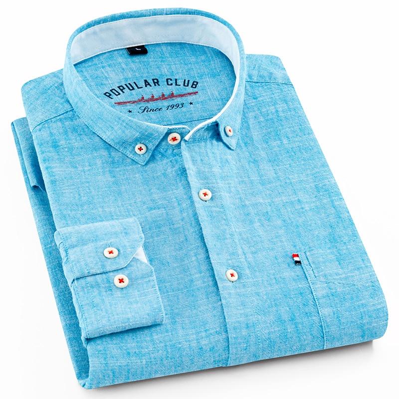 Men's Regular-Fit Shirt Cotton Line Long Sleeve Loose Business Dress Pure Color Button Shirt Men Blue White Tops Camisa Hombre L
