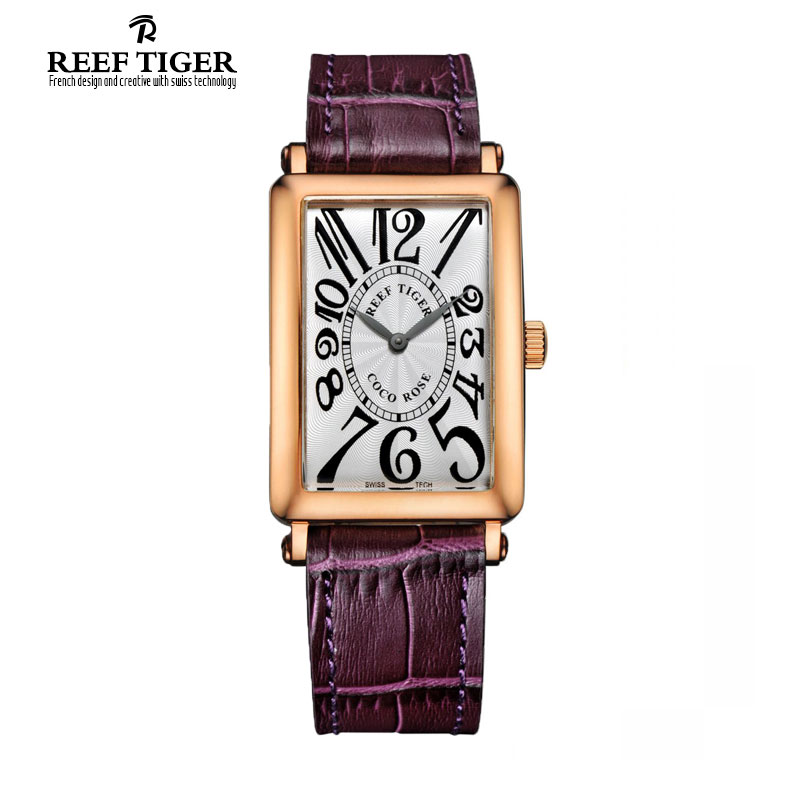 2017 New Fashion Reef Tiger/RT Watches Rose Gold Watch Rectangular Watches Women Dress Quartz Wrist Watches RGA172 yn e3 rt ttl radio trigger speedlite transmitter as st e3 rt for canon 600ex rt new arrival