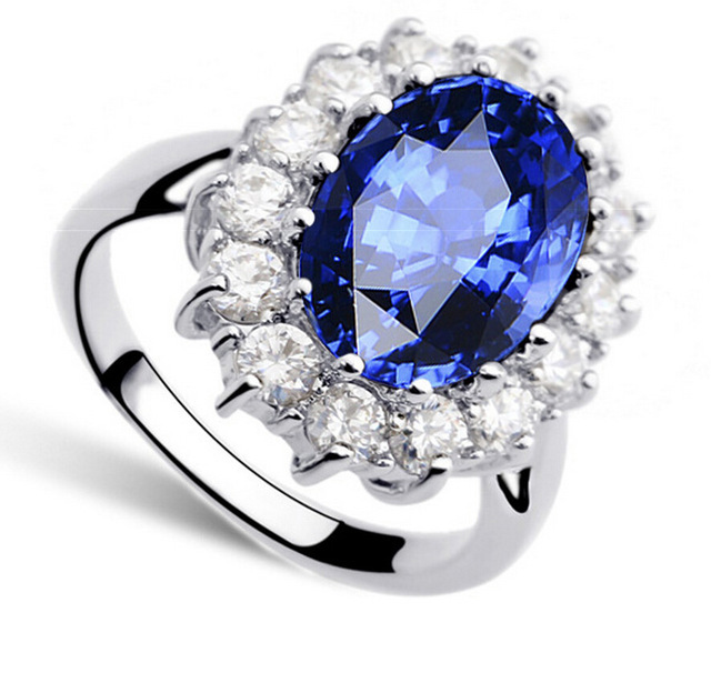 Fine Jewelry Womens Blue Crystal Sterling Silver Band XOLc83WS