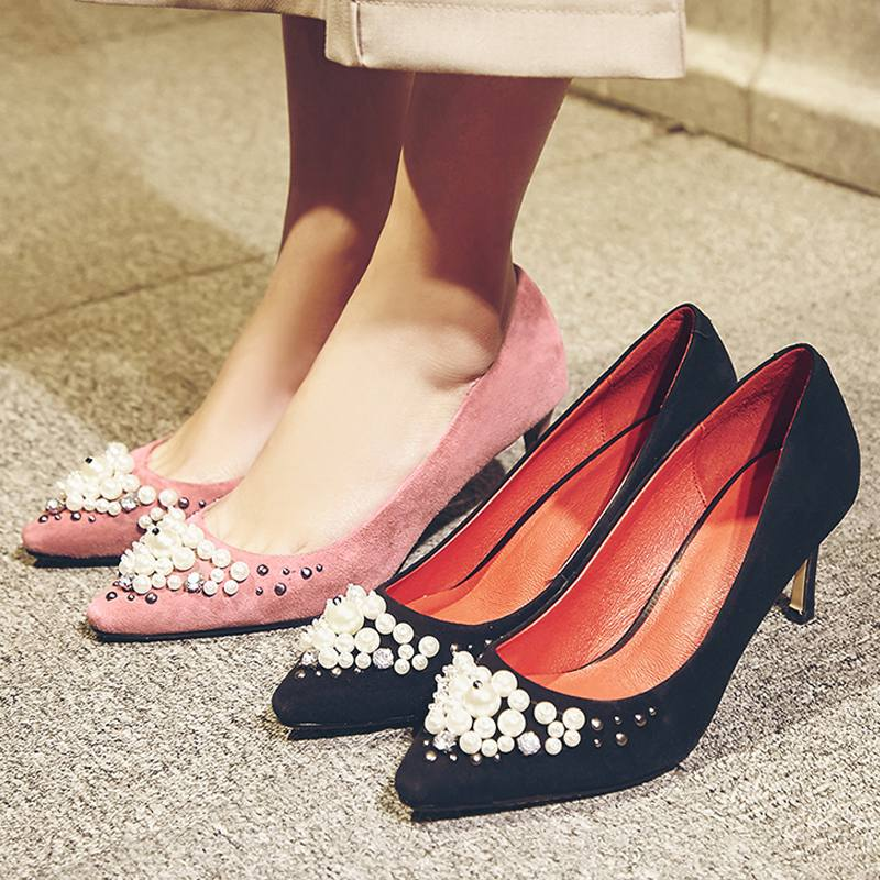 2017 New Fashion Brand Spring Shoes Black High Heel Pearl Kid Sude Slip on Women Pumps Pointed Toe Luxury Wedding Causal Shoe 16 2017 new fashion brand spring shoes large size crystal pointed toe kid suede thick heel women pumps party sweet office lady shoe