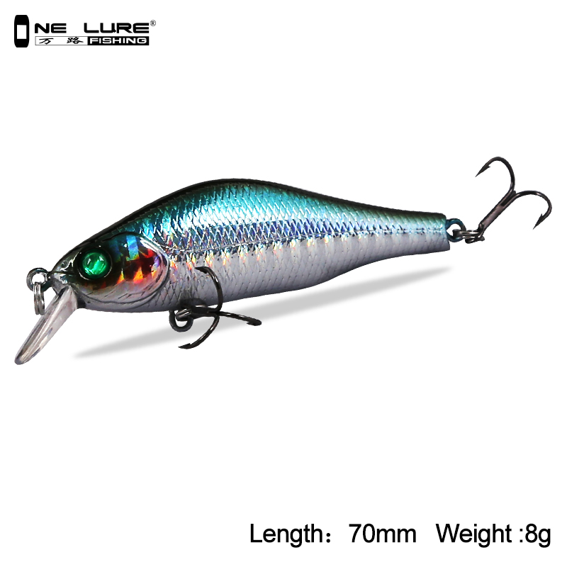 One Lure Fishing Lure 70mm 8g 3D Eyes Crankbait Wobblers Minnow Lures Artificial Hard Baits Five Colors Available Model 3504 seapesca minnow fishing lure 70mm 8g 3d eyes crankbait wobblers artificial plastic hard bait peche fishing tackle jk9