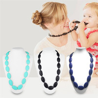 New Teether Beads Necklace BPA Free Food Grade Teether Toys Jewelry Toothbrush Mom Teethers Necklace Jewelry