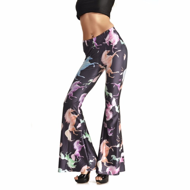 Fashion 0005 Sexy Girl Women Color Unicorn Horse 3D Prints Spandex Elastic Fitness Dance Bell bottoms leggings Pants Plus size