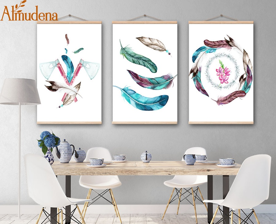 ALMUDENA Nordic Abstract Color Feathers Painting Framed