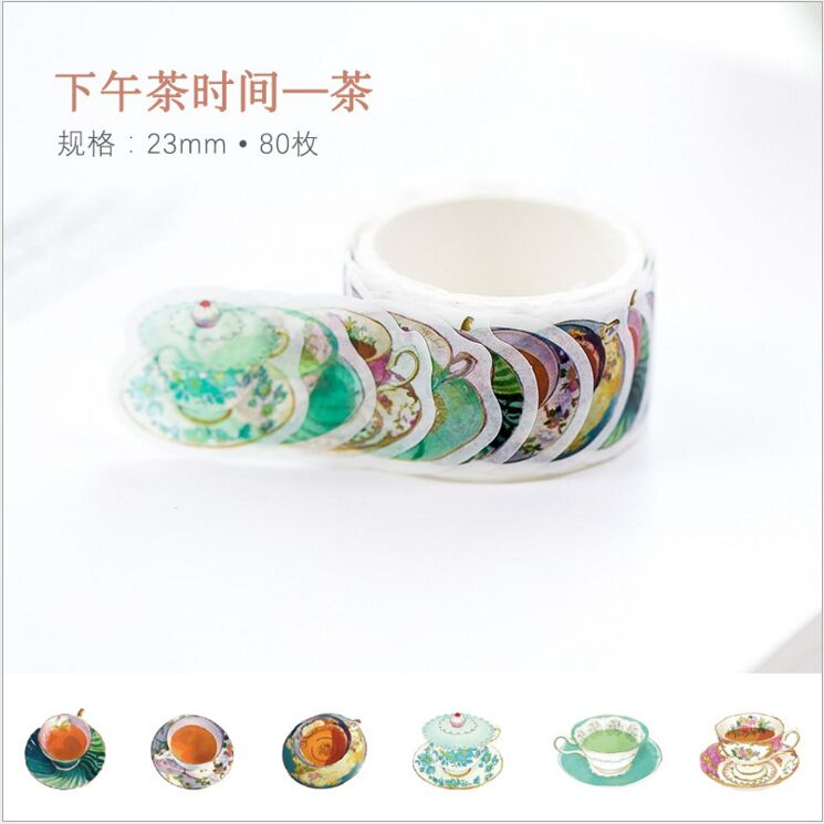 80pcs/pack Afternoon Tea Time Tea Drink Donut Cake Pastry Food Decorative Washi Tape DIY Planner Scrapbooking Masking Tape Escol